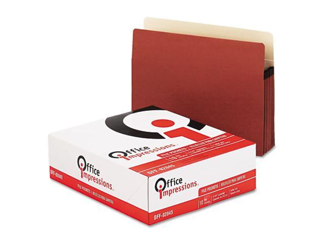 "Office Impressions 5 1/4"" Exp. File Pockets, Straight, Redrope/Manila, Letter, Redrope, 10/Box"
