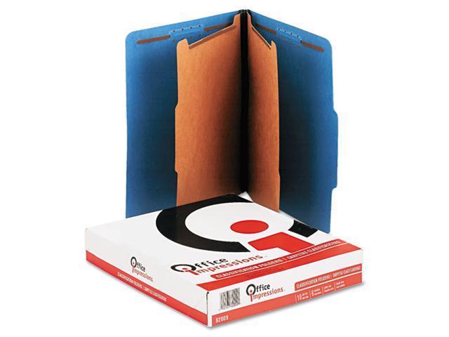 Office Impressions Pressboard Classification Folders, Letter, 6-Section, Cobalt Blue, 10/Box