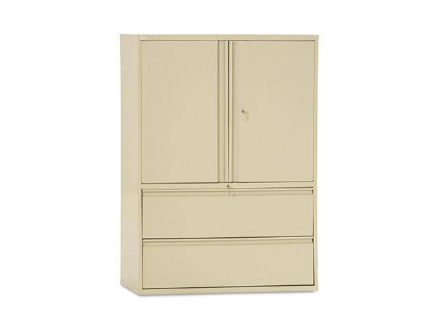 Alera LA56-4219PY Two-Drawer Lateral File Cabinet With Storage, 42w x 19-1/4d x 65-1/4h, Putty