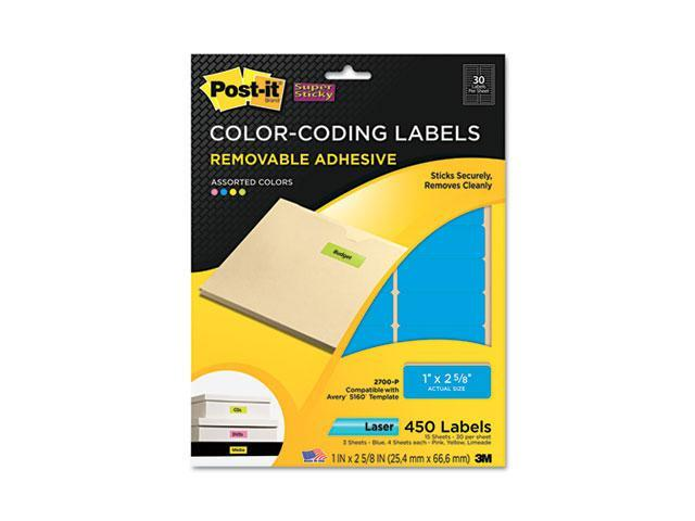 Post-it Super Sticky 2700-P Super Sticky Removable Color-Coding Labels, 1 x 2-5/8, Assorted Neon, 450/Pack