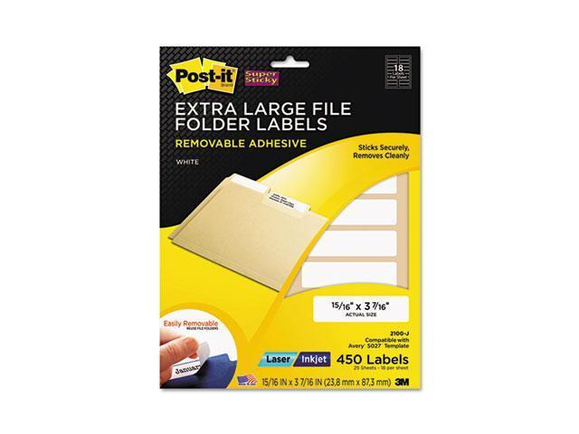 Post-it Super Sticky 2100-J Super Sticky Removable File Folder Labels, 15/16 x 3 7/16, White, 450/Pack