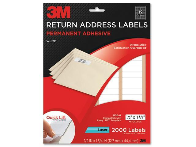 3M 3100-Q Permanent Adhesive White Mailing Labels f/Laser Printers, 1/2 x 1-3/4, 2000/Pack