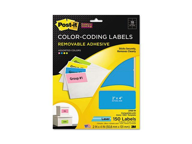 Post-it Super Sticky 2700-W Super Sticky Removable Color-Coding Labels, 2 x 4, Assorted Neon, 150/Pack