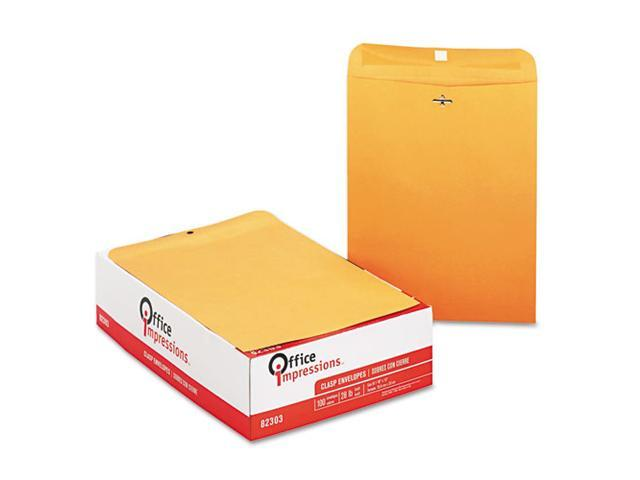 Office Impressions Kraft Clasp Envelopes, 10 x 13, 28lb, Brown Kraft, 100/Box