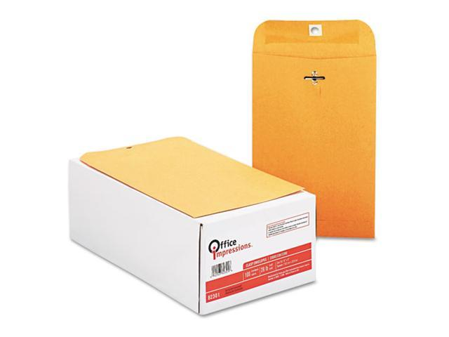 Office Impressions Kraft Clasp Envelopes, 6 x 9, 28lb, Brown Kraft, 100/Box