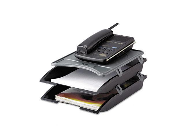 Innovera 10150 Telephone Stand with Stackable Letter Size Paper Trays, Black/Gray
