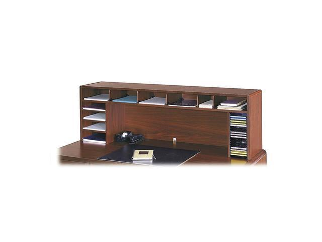 Safco 3661CY Wood Desktop Organizer, Single Shelf, Three Sections, 57 1/2 x 12 x 18, Cherry