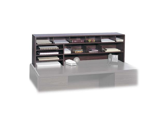 Safco 3651MH Single Shelf Desktop Organizer, 15 Sections, 57 1/2 x 12 x 18, Mahogany