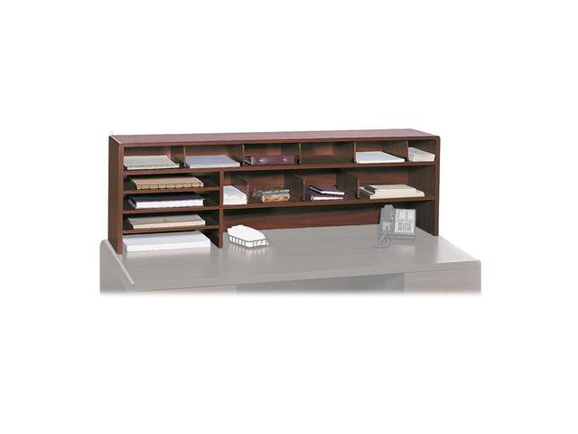 Safco 3651CY Wood Desktop Organizer, Double Shelf, Three Sections, 57 1/2 x 12 x 18, Cherry