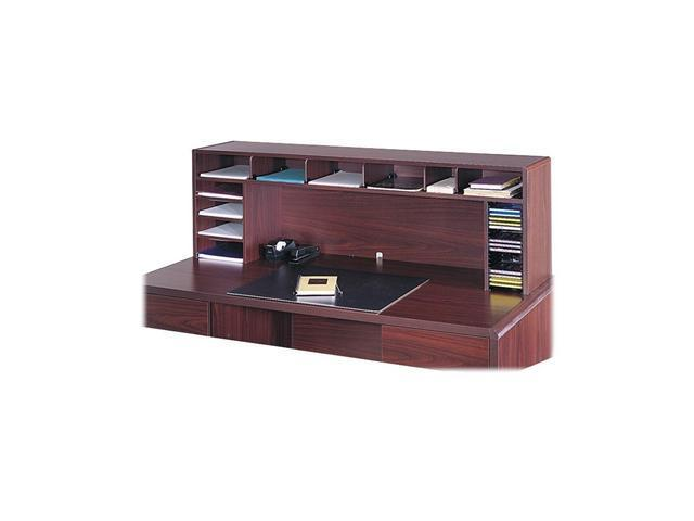 Safco 3661MH High-Clearance Desktop Organizer, 12 Sections, 57 1/2 x 12 x 18, Mahogany
