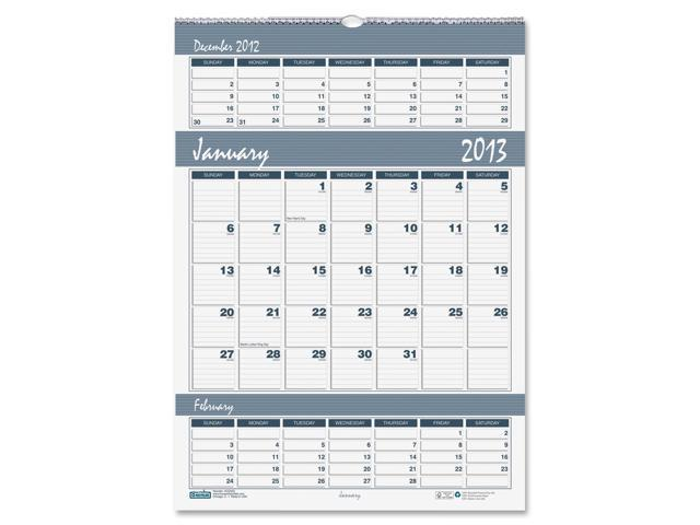 House of Doolittle 343 Bar Harbor Wirebound Three-Months-per-Page Wall Calendar, 15-1/2 x 22