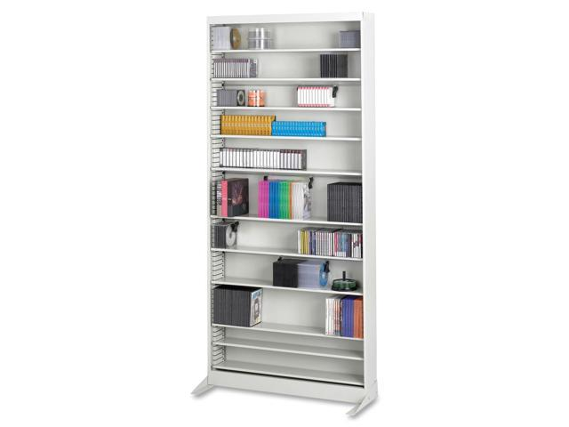Safco 4936LG A/V Adjustable Open Shelving, 12 Shelves, 36w x 13-1/4d x 78h, Light Gray