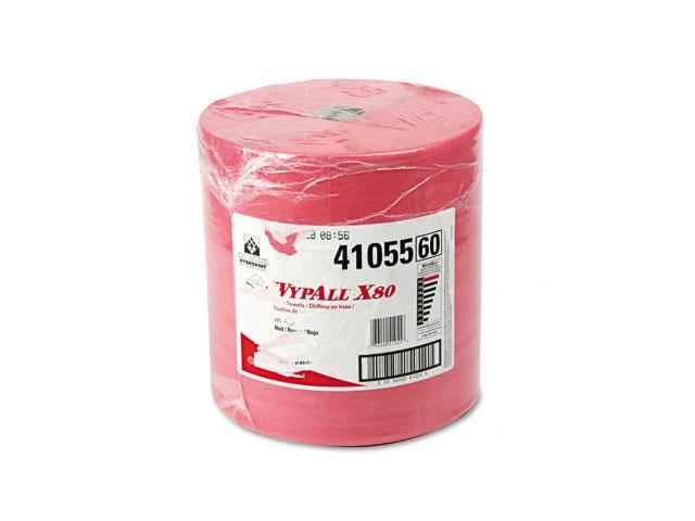 KIMBERLY-CLARK PROFESSIONAL* 41055 WYPALL X80 Wipers, HYDROKNIT Roll, 12 1/2 x 13 2/5, Red, 475/Roll, 1 Roll/Carton