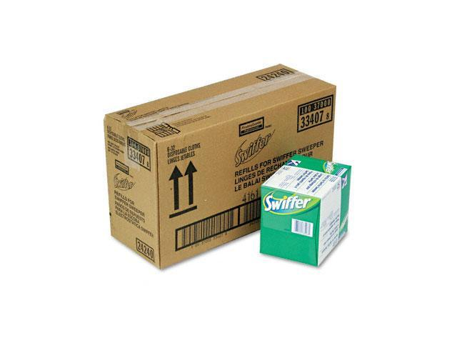 Swiffer 33407CT Dry Refill System, Cloth, White, 32/Box, 6/Carton