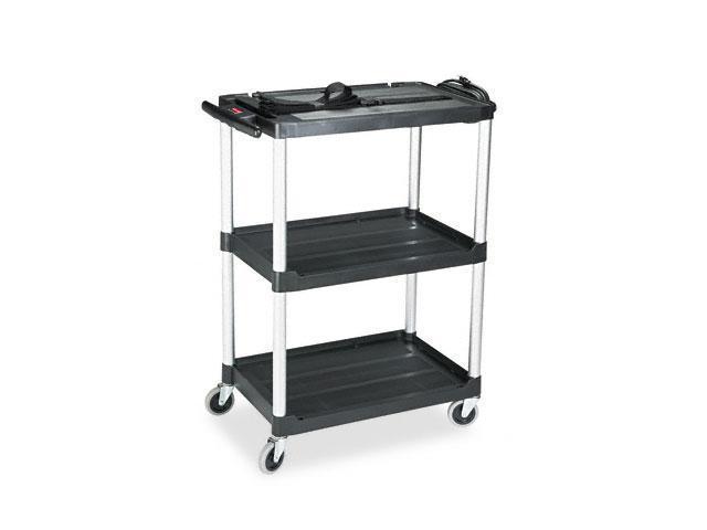 Rubbermaid Commercial 9T30 Media Master AV Cart, 2-Shelf, 18-3/4w x 32-3/4d x 42h, Black