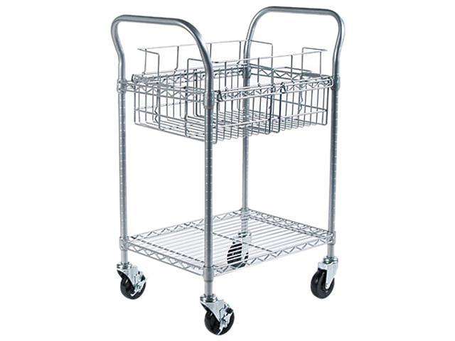 Safco 5235GR Wire Mail Cart, 600lbs, 18-3/4w x 26-3/4d x 38-1/2h, Metallic Gray