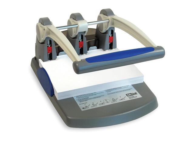 McGill 58000 300-Sheet Heavy-Duty Two- to Three-Hole Punch, 9/32 Diameter Hole, Blue/Gray