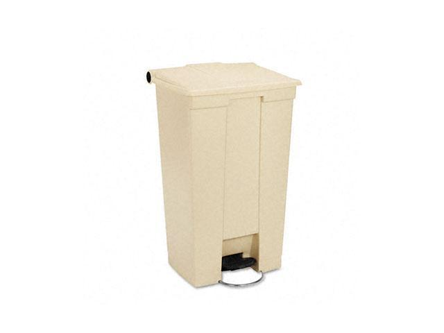 Rubbermaid Commercial                    Fire-Safe Step-On Receptacle w/Wheels, Rectangular, Polyethylene, 23 gal, Beige