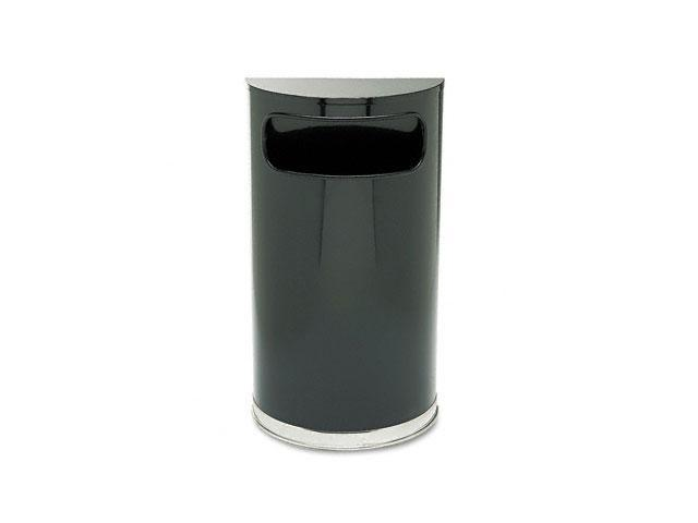 Rubbermaid Commercial                    European & Metallic Series Receptacle, Half-Round, 9 gal, Black/Chrome