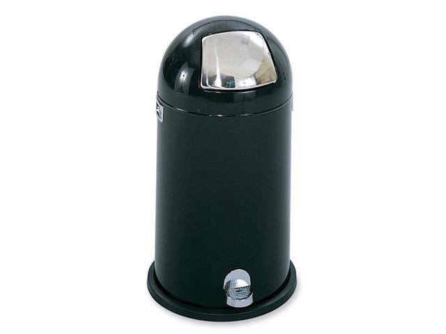 Safco 9721BL Step-On Dome Receptacle, Round, Steel, 12 gal, Black/Chrome