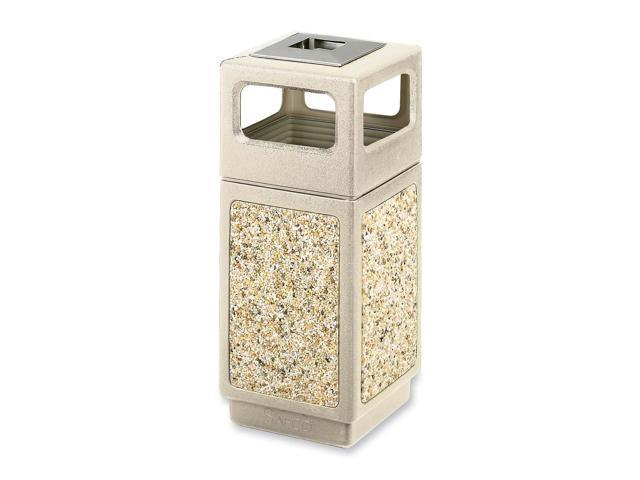 Safco 9470TN Canmeleon Ash/Trash Receptacle, Square, Aggregate/Polyethylene, 15 gal, Tan
