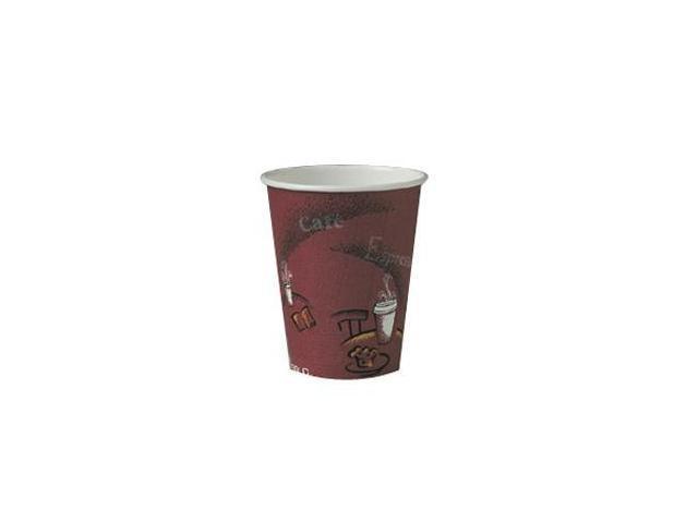 SOLO Cup Company 378SI Bistro Design Hot Drink Cups, Paper, 8 oz., Maroon, 20 Bags of 50/Carton