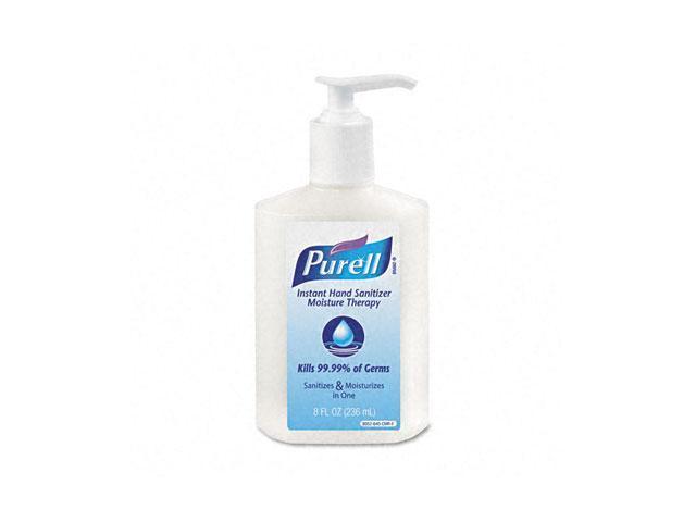 PURELL 9552-12-CMR Moisture Therapy Instant Hand Sanitizer, 8-oz. Pump Bottle, White