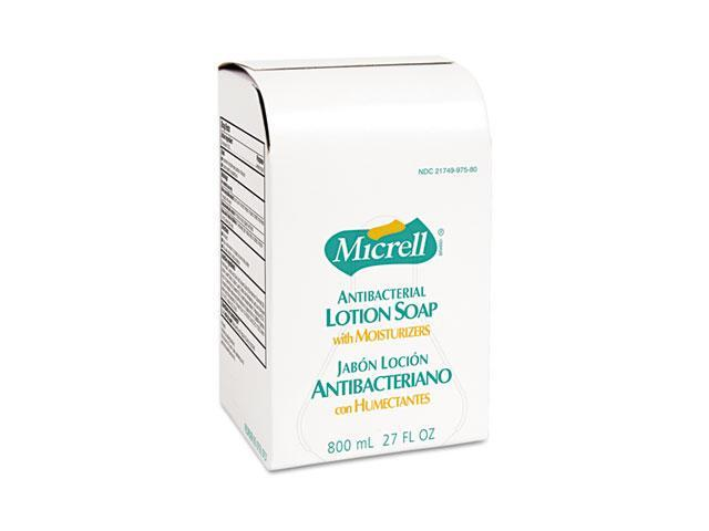 GOJO 9757-12EA MICRELL Antibacterial Lotion Soap Refill, Unscented Liquid, 800ml