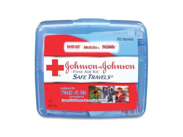 Johnson & Johnson Red Cross 8274 Portable Travel First Aid Kit, 70 Pieces, Plastic Case