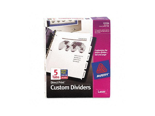 Avery 11534 Direct Print Unpunched Presentation Dividers, 5-Tab, Letter, White, 24 Sets/Pack