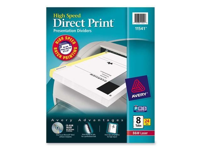 Avery 11541 Direct Print Unpunched Presentation Dividers, 8-Tab, Letter, White, 24 Sets/Pack