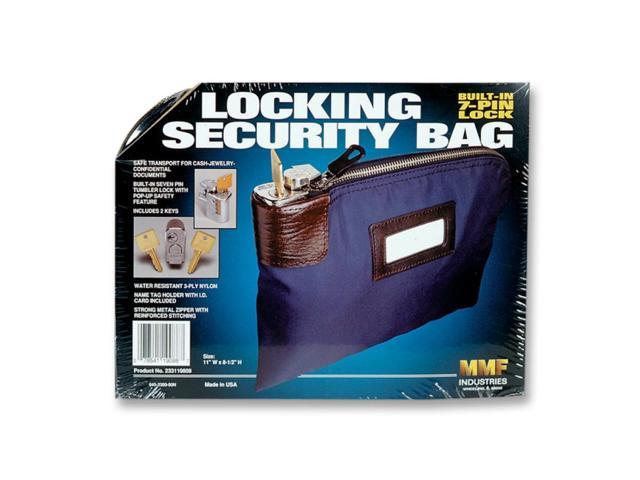 MMF Industries 233110808 Seven-Pin Security/Night Deposit Bag w/2 Keys, Nylon, 8-1/2 x 11, Navy