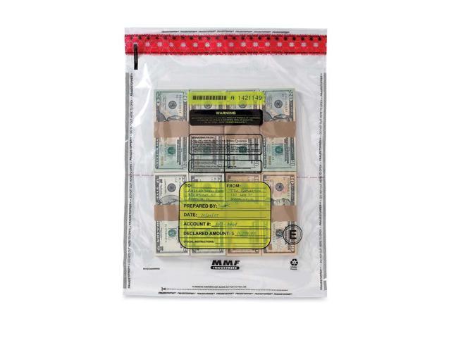 MMF Industries 2362005N20 4 Bundle Capacity Tamper-Evident Cash Bags, 15 x 20, Clear, 250 Bags/Box
