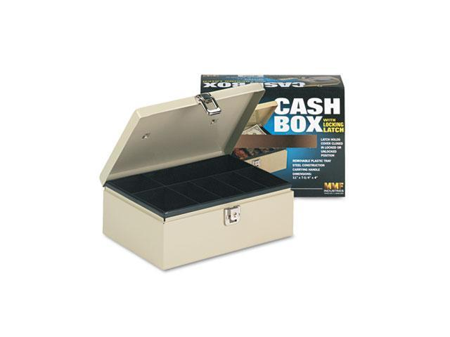 STEELMASTER by MMF Industries 221612003 Heavy-Duty Steel Cash Box w/7 Compartments, Latch Lock, Sand