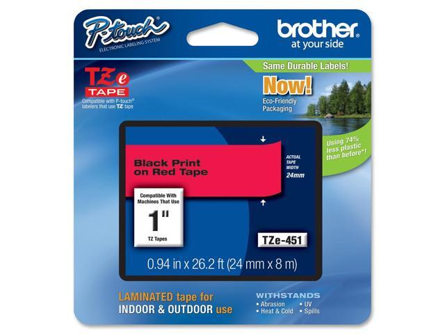 Brother Black on Red Label Tape