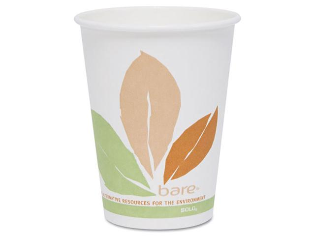 SOLO Cup Company OF10PL-J7234 Bare PLA Hot Cups, White w/Leaf Design, 10 oz., 300/Carton
