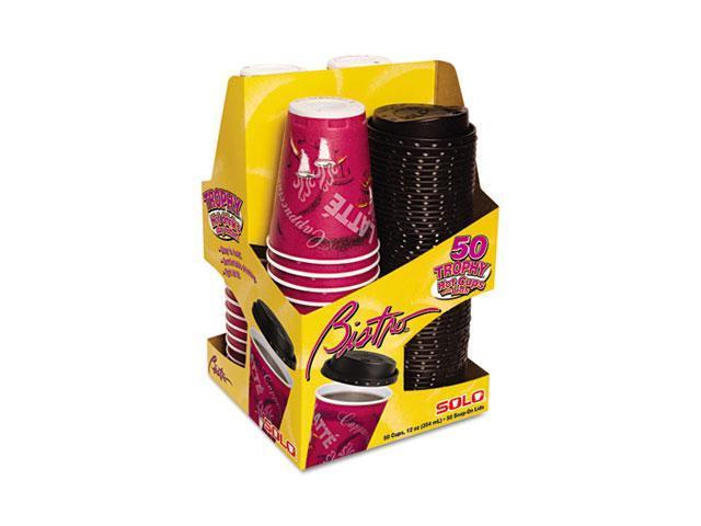 SOLO Cup Company FSX12-0041PK Trophy Foam Cups & Lids Combo Pack, Foam, Maroon, 12 oz., 50 Cups & Lids/Pack