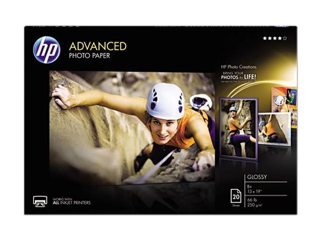 Hewlett-Packard CR696A Advanced Photo Paper, 66 lbs., Glossy, 13 x 19, 20 Sheets/Pack