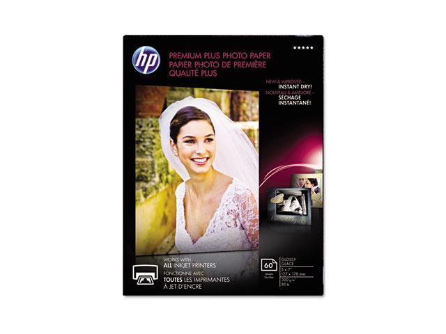 Hewlett-Packard CR669A Premium Plus Photo Paper, 80 lbs., Glossy, 5 x 7, 60 Sheets/Pack