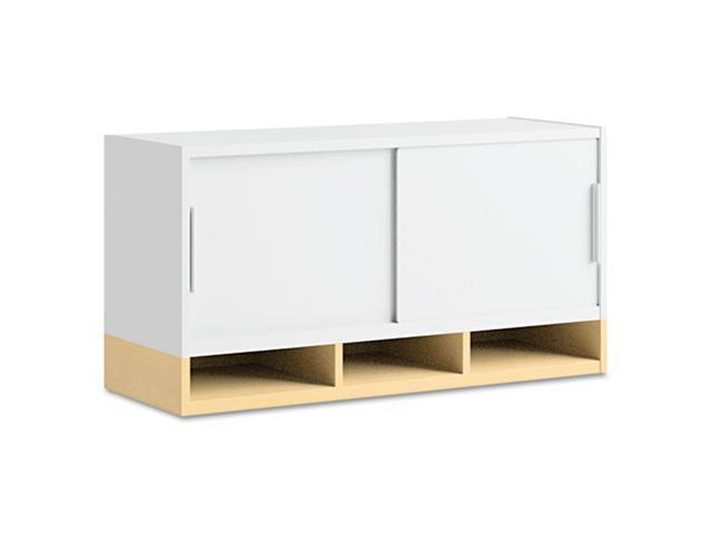 BUSH FURNITURE Momentum Collection Hutch, Two Doors, 36w x 13d x 18-5/8h, White/Accord Maple