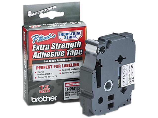 Brother TZES941 TZ Extra-Strength Adhesive Laminated Labeling Tape, 3/4w, Black on Matte Silver