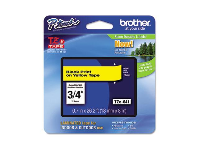 Brother TZE641 TZe Standard Adhesive Laminated Labeling Tape, 3/4w, Black on Yellow