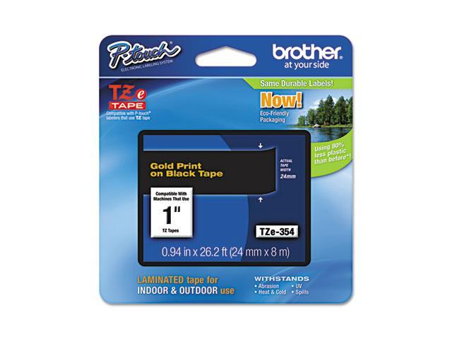 Brother TZE354 TZe Standard Adhesive Laminated Labeling Tape, 1w, Gold on Black