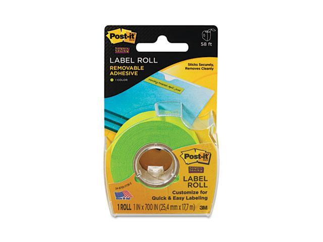 Post-it 2600-G Super Sticky Removable Label Roll, 1 x 700, Green