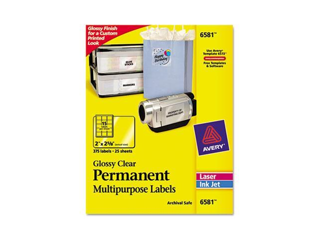 Avery 6581 Permanent I.D. Labels, 2 x 2 5/8, Clear, 300/Pack