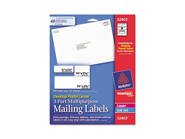 Avery 32403 Desktop Postal Center 3-Part Mailing Labels, Three sizes, White, 200 Labels/Pack