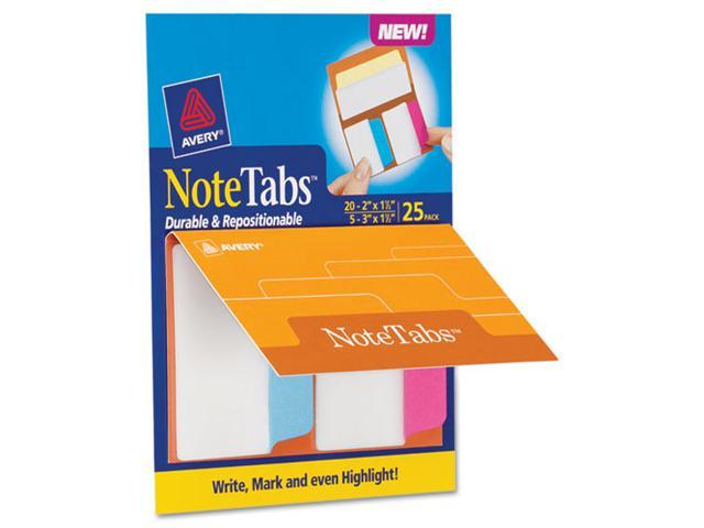 Avery 16389 NoteTabs-Notes, Tabs and Flags in One, Neon Blue/Magenta/Yellow, 2/3