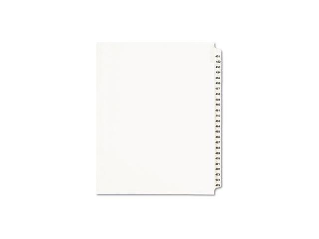Avery-Style Legal Exhibit Side Tab Divider Title: 451-475 Letter White
