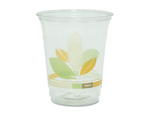 SOLO Cup Company RTP12J9036PK Bare RPET Cold Cups, Clear w/Leaf Design, 12 oz., 50/Pack