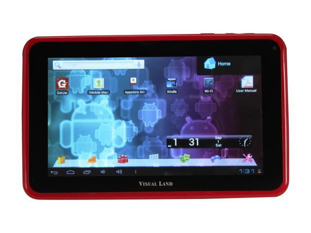 "Visual Land ME-107-L-8GB-RED 8 GB 7.0"" Tablet, Red"